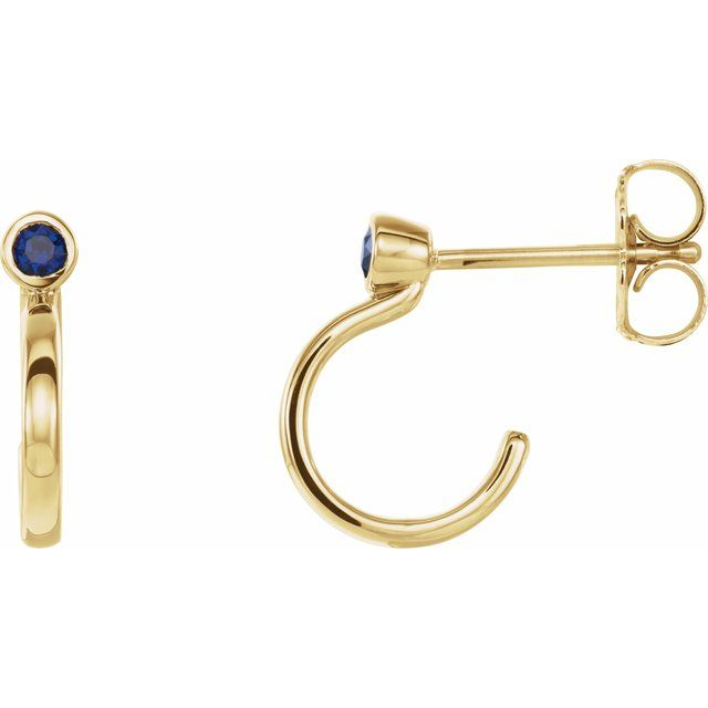 Created Sapphire Earrings in 14 Karat Yellow Gold 2 mm Round Chatham Lab-Created Genuine Sapphire Bezel-Set Hoop Earrings