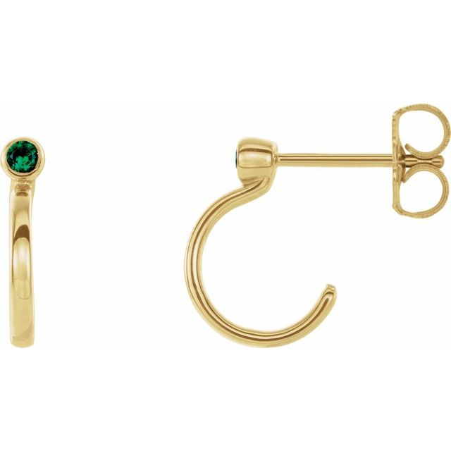 Genuine Emerald Earrings in 14 Karat Yellow Gold 2 mm Round Emerald Bezel-Set Hoop Earrings