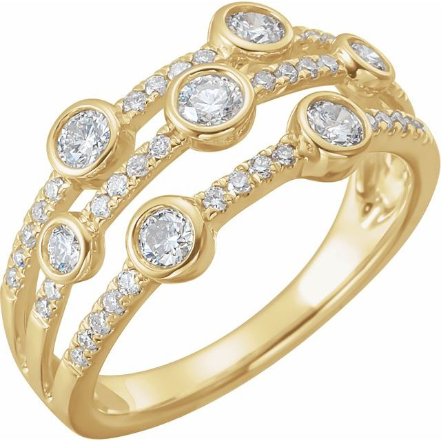 White Diamond Ring in 14 Karat Yellow Gold 3/4 Carat Diamond Negative Space Ring