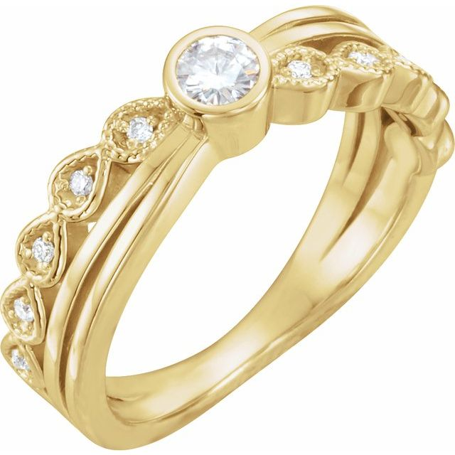 Created Moissanite Ring in 14 Karat Yellow Gold 3.5 mm Round Forever One Moissanite & .05 Carat Diamond Ring