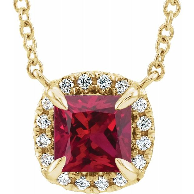Chatham Created Ruby Necklace in 14 Karat Yellow Gold 3.5x3.5 mm Square Chatham Lab-Created Ruby & .05 Carat Diamond 18