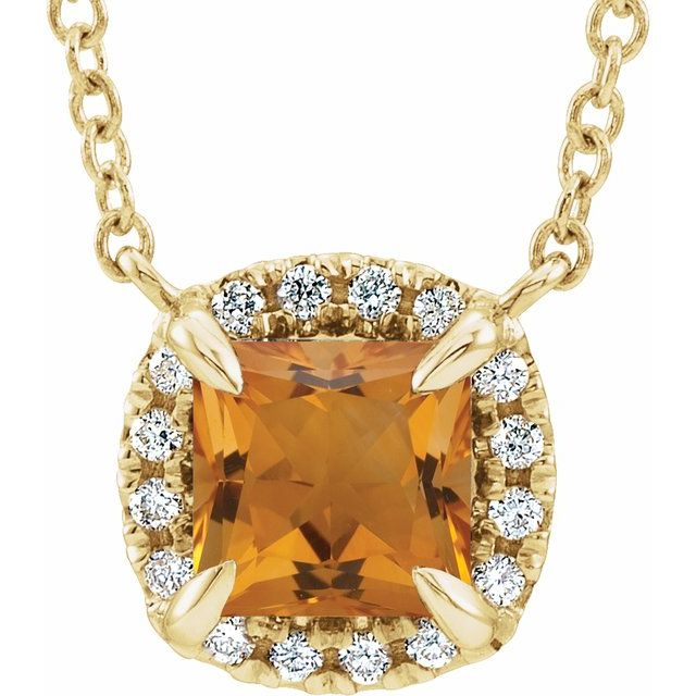 Golden Citrine Necklace in 14 Karat Yellow Gold 3.5x3.5 mm Square Citrine & .05 Carat Diamond 16