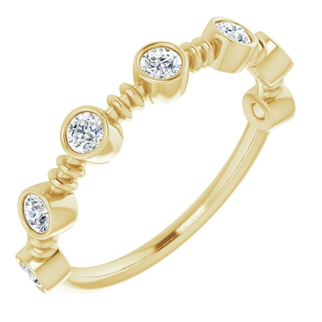 White Diamond Ring in 14 Karat Yellow Gold 3/8 Carat Diamond Ring