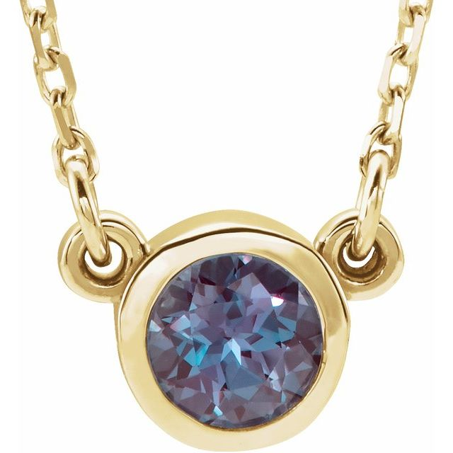 Genuine Alexandrite Pendant in 14 Karat Yellow Gold 3 mm Round Alexandrite Bezel-Set Solitaire 16