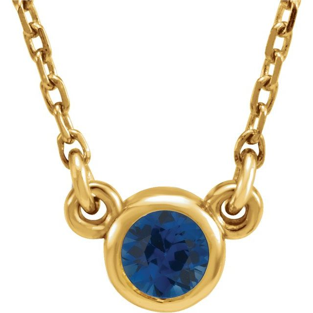 Genuine Sapphire Pendant in 14 Karat Yellow Gold 3 mm Round Genuine Sapphire Bezel-Set Solitaire 16