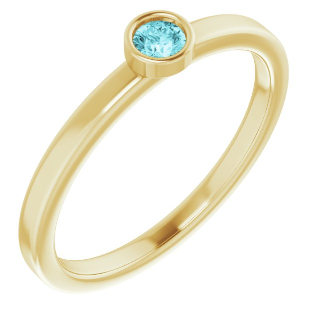 Genuine Zircon Ring in 14 Karat Yellow Gold 3 mm Round Genuine Zircon Ring
