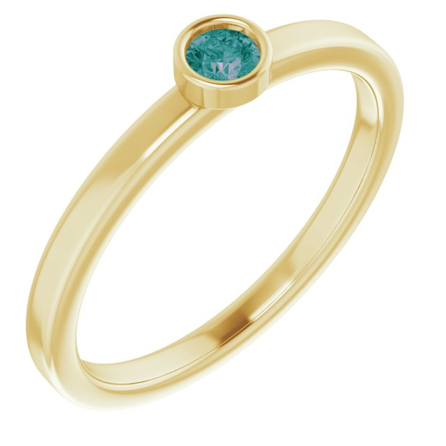 Chatham Created Alexandrite Ring in 14 Karat Yellow Gold 3 mm Round Chatham Lab-Created Alexandrite Ring