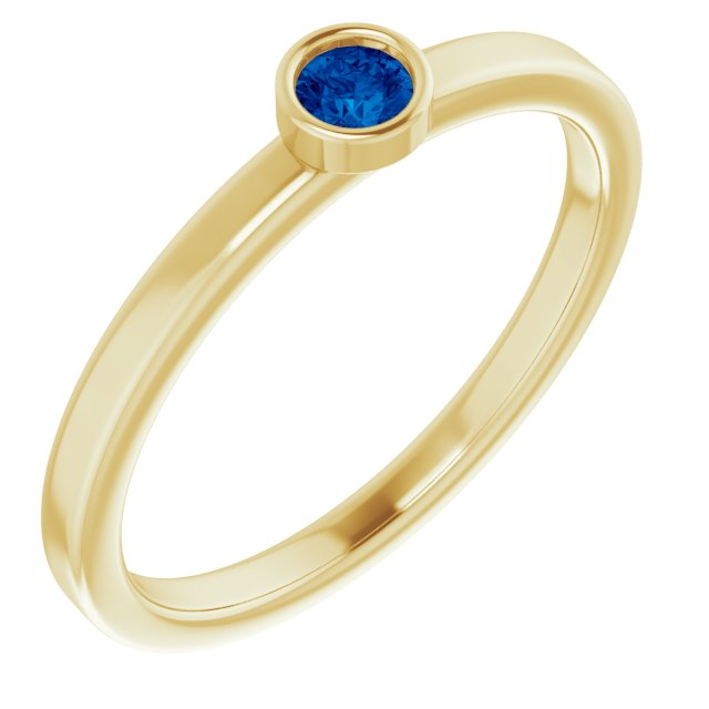 Genuine Chatham Created Sapphire Ring in 14 Karat Yellow Gold 3 mm Round Chatham Lab-Created Genuine Sapphire Ring