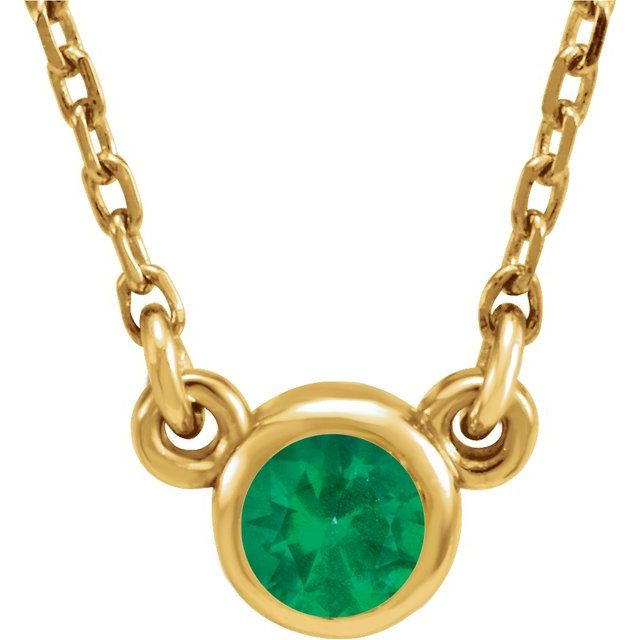 Chatham Created Emerald Pendant in 14 Karat Yellow Gold 3 mm Round Chatham Lab-Created Emerald Bezel-Set Solitaire 16