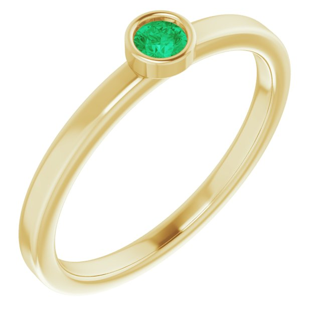 Genuine Chatham Created Emerald Ring in 14 Karat Yellow Gold 3 mm Round Chatham Lab-Created Emerald Ring