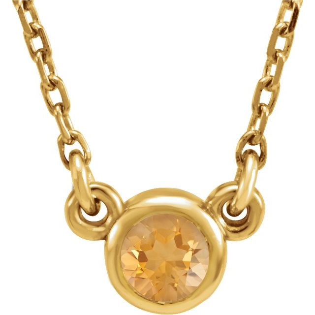 Golden Citrine Pendant in 14 Karat Yellow Gold 3 mm Round Citrine Bezel-Set Solitaire 16