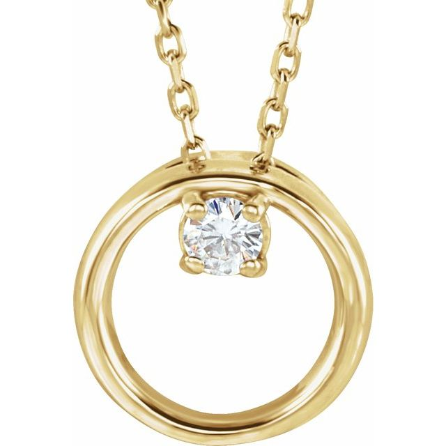 Created Moissanite Necklace in 14 Karat Yellow Gold 3 mm Round Forever One Moissanite 18