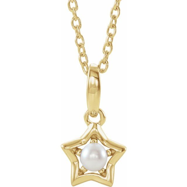 Cultured Pearl Necklace in 14 Karat Yellow Gold 3 mm Round June Youth Star Birthstone 15