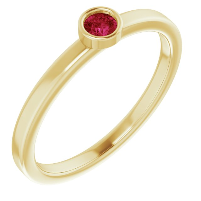 Genuine Ruby Ring in 14 Karat Yellow Gold 3 mm Round Ruby Ring