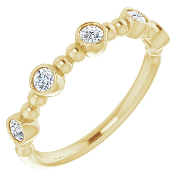White Diamond Ring in 14 Karat Yellow Gold .33 Carat Diamond Stackable Ring