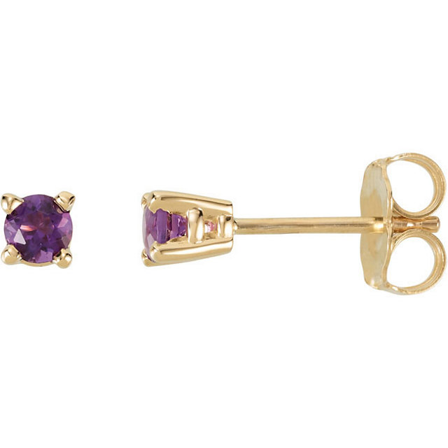 Beautiful 14 Karat Yellow Gold 3mm Round Amethyst FriCaration Post Stud Earrings