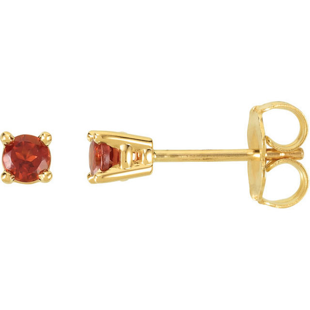 Graceful 14 Karat Yellow Gold 3mm Round Genuine Mozambique Garnet Friction Post Stud Earrings