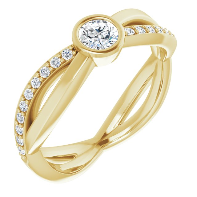 White Diamond Ring in 14 Karat Yellow Gold 4.1 mm Round 3/8 Carat Diamond Infinity-Inspired Ring