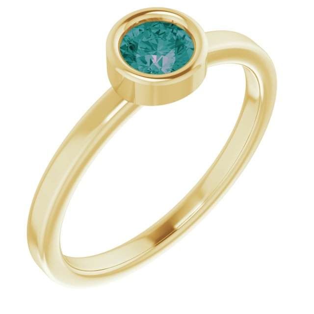 Chatham Created Alexandrite Ring in 14 Karat Yellow Gold 4.5 mm Round Chatham Lab-Created Alexandrite Ring