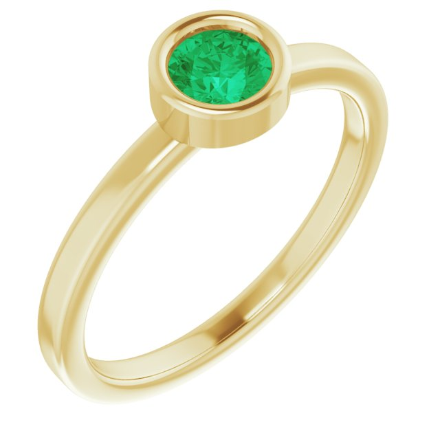 Genuine Chatham Created Emerald Ring in 14 Karat Yellow Gold 4.5 mm Round Chatham Lab-Created Emerald Ring