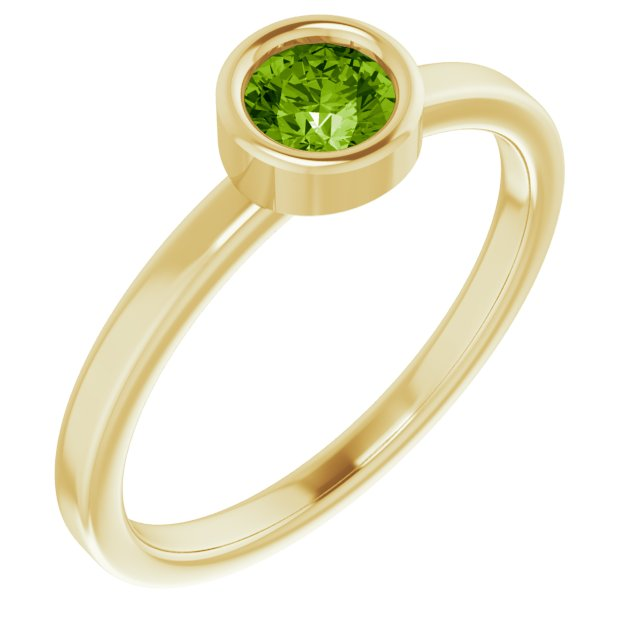 Genuine Peridot Ring in 14 Karat Yellow Gold 4.5 mm Round Peridot Ring