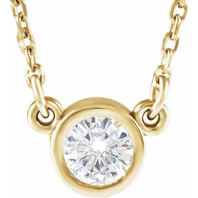 Created Moissanite Necklace in 14 Karat Yellow Gold 4 mm Round Forever One Moissanite 18