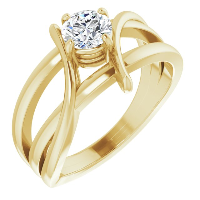 Created Moissanite Ring in 14 Karat Yellow Gold 4 mm Round Forever One Moissanite Ring