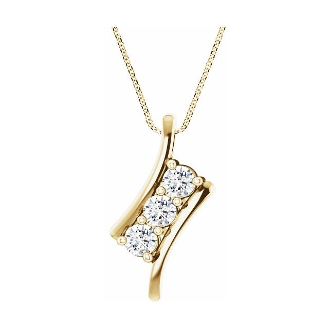 Created Moissanite Necklace in 14 Karat Yellow Gold 4 mm Round Forever One Moissanite Three-Stone 16-18
