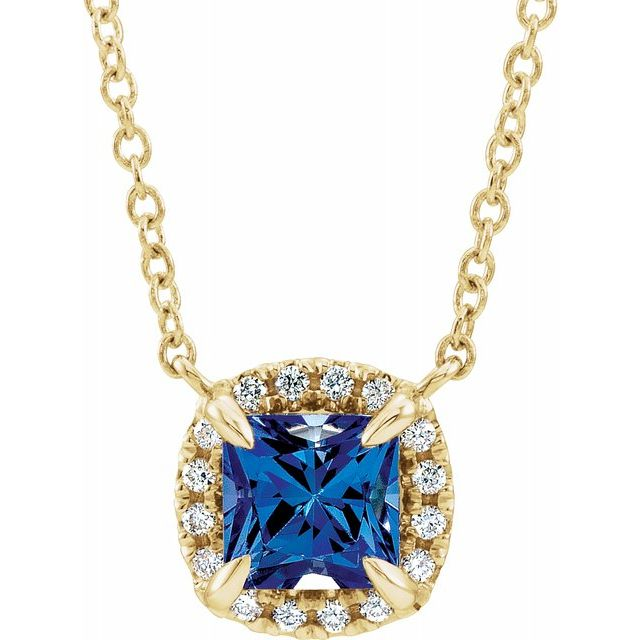 Genuine Sapphire Necklace in 14 Karat Yellow Gold 4x4 mm Square Genuine Sapphire & .05 Carat Diamond 18
