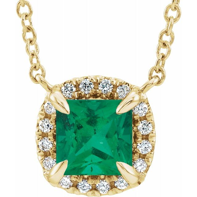 Chatham Created Emerald Necklace in 14 Karat Yellow Gold 4x4 mm Square Chatham Lab-Created Emerald & .05 Carat Diamond 18