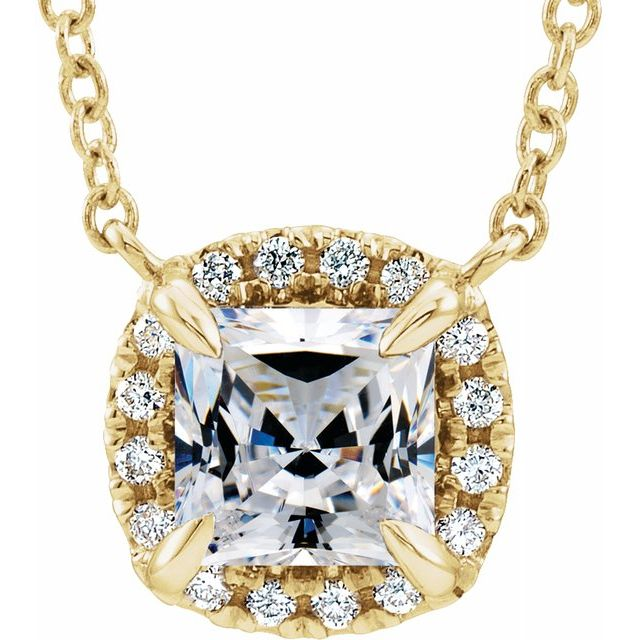 Genuine Sapphire Necklace in 14 Karat Yellow Gold 4x4 mm Square Sapphire & .05 Carat Diamond 16