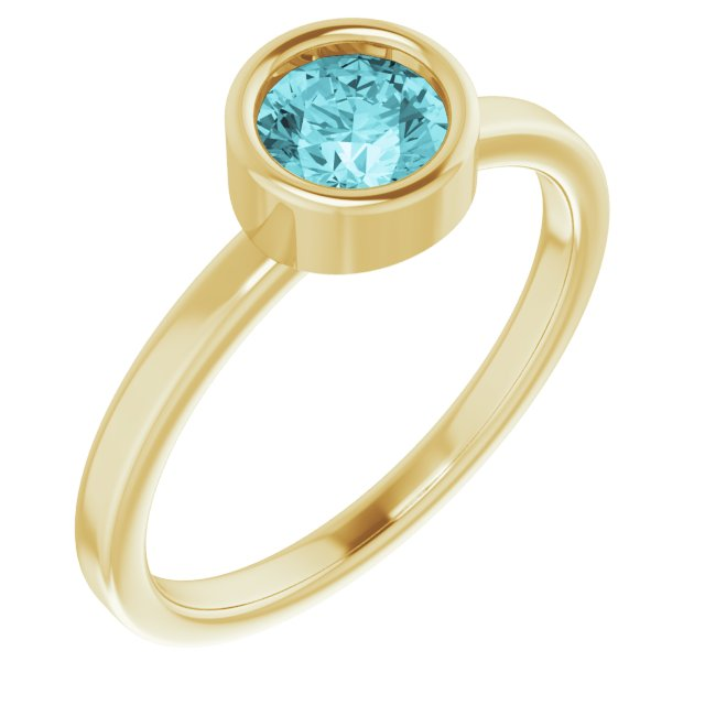 Genuine Zircon Ring in 14 Karat Yellow Gold 5.5 mm Round Genuine Zircon Ring