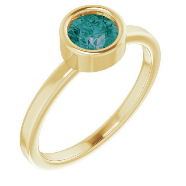 Chatham Created Alexandrite Ring in 14 Karat Yellow Gold 5.5 mm Round Chatham Lab-Created Alexandrite Ring