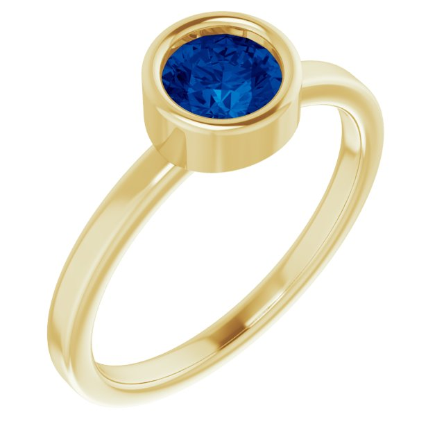 Genuine Chatham Created Sapphire Ring in 14 Karat Yellow Gold 5.5 mm Round Chatham Lab-Created Genuine Sapphire Ring