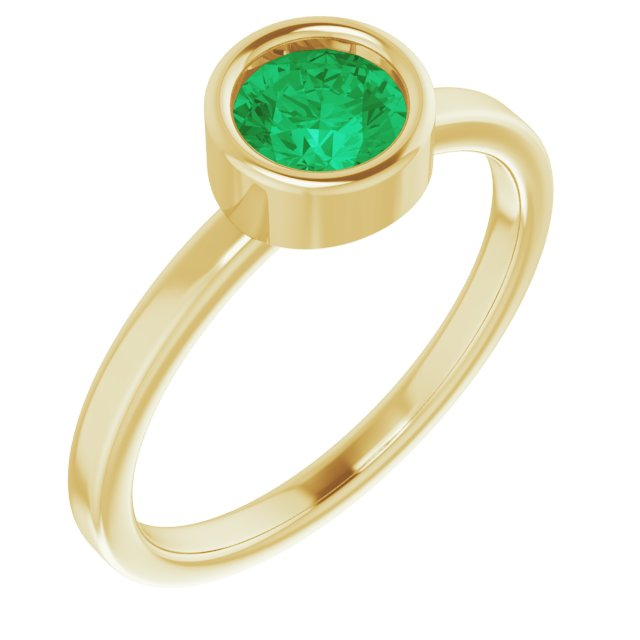 Genuine Chatham Created Emerald Ring in 14 Karat Yellow Gold 5.5 mm Round Chatham Lab-Created Emerald Ring