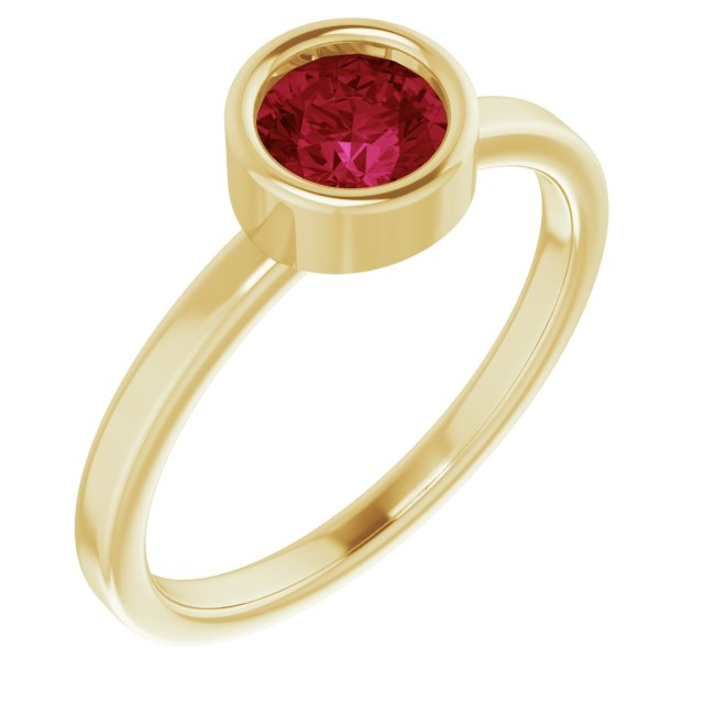Chatham Created Ruby Ring in 14 Karat Yellow Gold 5.5 mm Round Chatham Lab-Created Ruby Ring