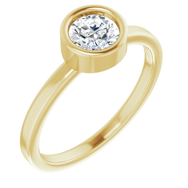 White Diamond Ring in 14 Karat Yellow Gold 5/8 Carat Diamond Ring