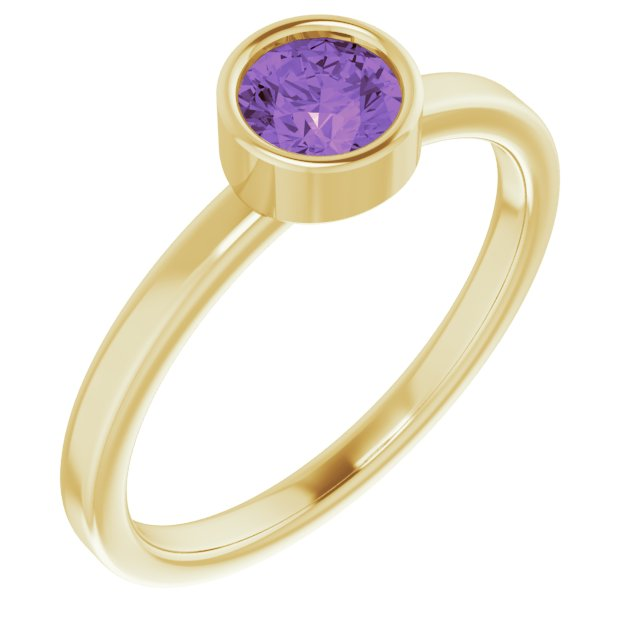 Genuine Amethyst Ring in 14 Karat Yellow Gold 5 mm Round Amethyst Ring