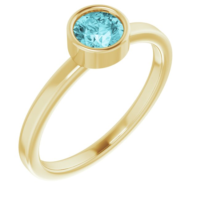 Genuine Zircon Ring in 14 Karat Yellow Gold 5 mm Round Genuine Zircon Ring