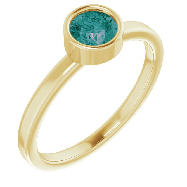 Chatham Created Alexandrite Ring in 14 Karat Yellow Gold 5 mm Round Chatham Lab-Created Alexandrite Ring