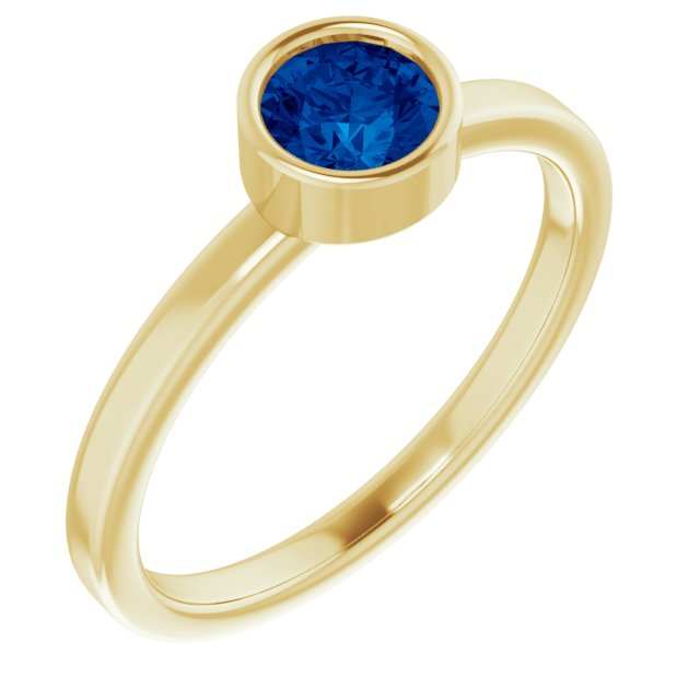 Genuine Chatham Created Sapphire Ring in 14 Karat Yellow Gold 5 mm Round Chatham Lab-Created Genuine Sapphire Ring