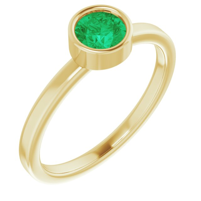 Genuine Chatham Created Emerald Ring in 14 Karat Yellow Gold 5 mm Round Chatham Lab-Created Emerald Ring