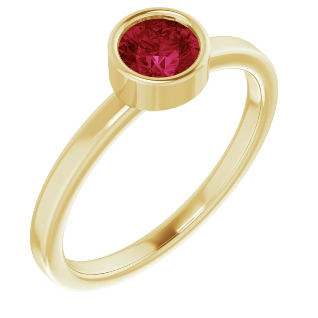Chatham Created Ruby Ring in 14 Karat Yellow Gold 5 mm Round Chatham Lab-Created Ruby Ring