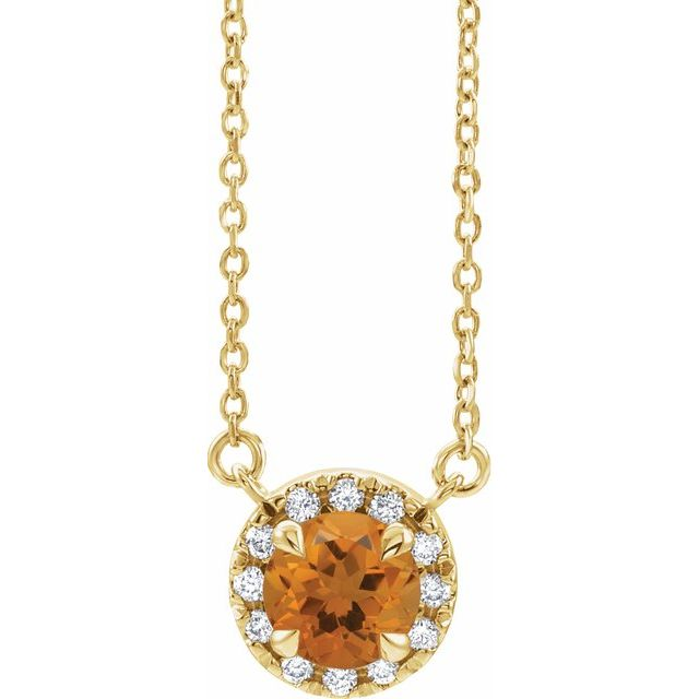 Golden Citrine Necklace in 14 Karat Yellow Gold 5 mm Round Citrine & 1/8 Carat Diamond 18