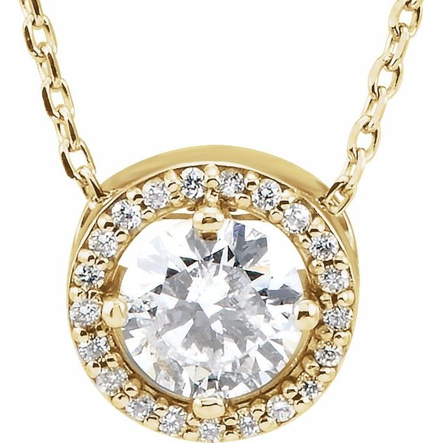 Created Moissanite Necklace in 14 Karat Yellow Gold 5 mm Round Forever One™ Moissanite & .06 Carat Diamond 16-18