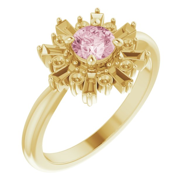 Pink Morganite Ring in 14 Karat Yellow Gold 5 mm Round Pink Morganite & 3/8 Carat Diamond Ring