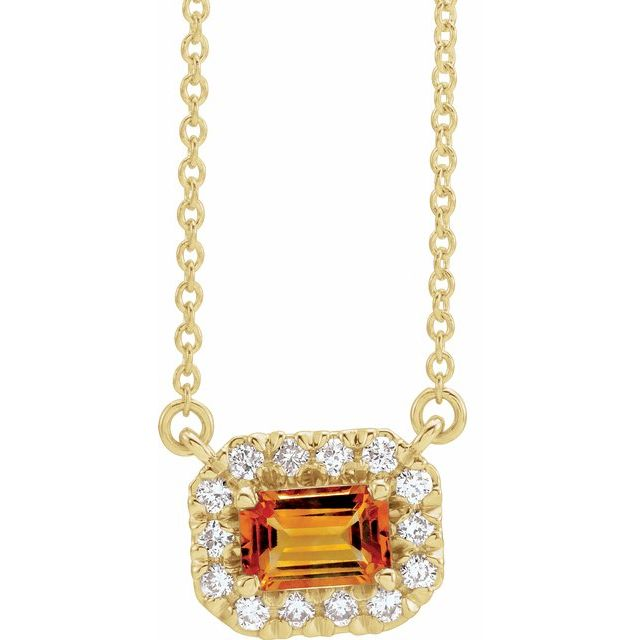 Golden Citrine Necklace in 14 Karat Yellow Gold 5x3 mm Emerald Citrine & 1/8 Carat Diamond 18