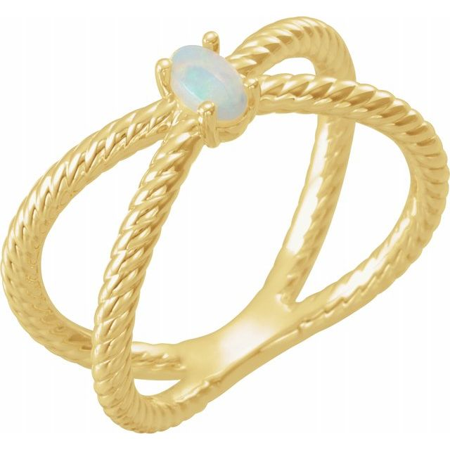 Natural Opal Ring in 14 Karat Yellow Gold 5x3 mm Opal Criss-Cross Rope Ring