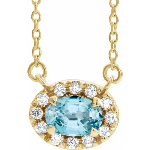 Genuine Zircon Necklace in 14 Karat Yellow Gold 5x3 mm Oval Genuine Zircon & .05 Carat Diamond 18