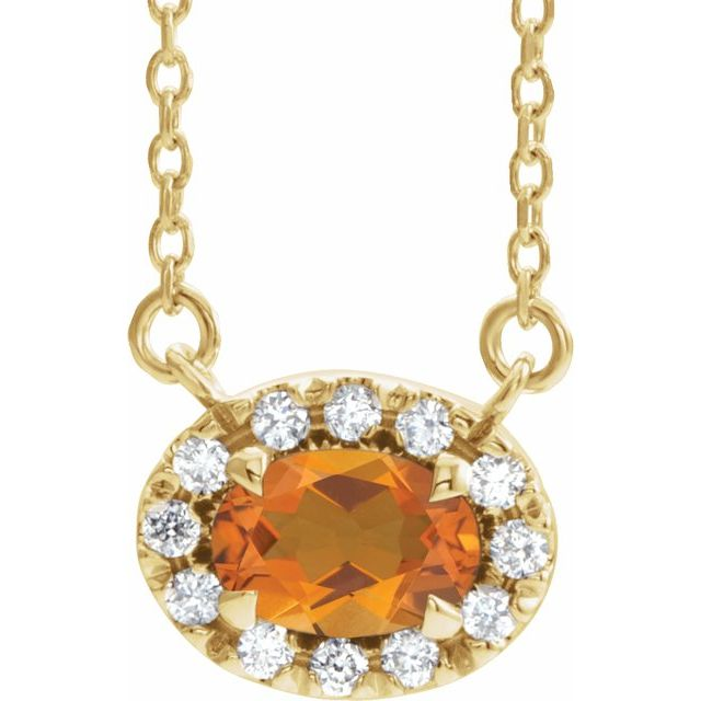 Golden Citrine Necklace in 14 Karat Yellow Gold 5x3 mm Oval Citrine & .05 Carat Diamond 16